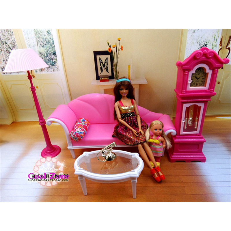 Miniature Luxury Living Room Furniture Set For Barbie Doll House Best Gift Toys For Girl Free