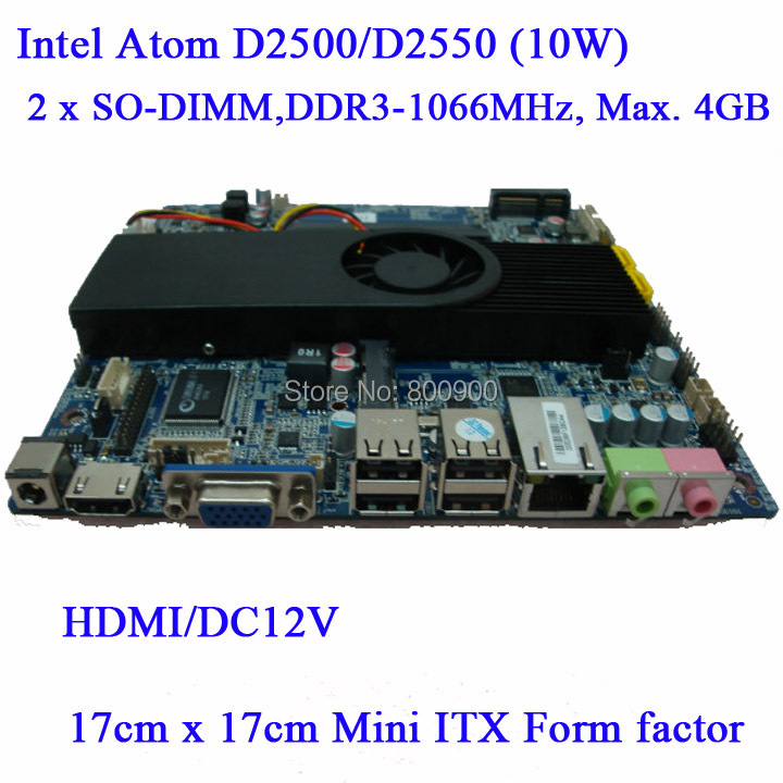 ASL Wyatt ATOM D2500 D2550 dual-core motherboard integrated MINI ITX motherboard slim small motherboard all in one MB 2 SO-DIMM(China (Mainland))