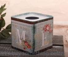 2015 Real Special Offer Tissue Canister Rural Seat Type Room Gifts For Home Coche Square Tinplate Napkin Box For Ornaments (China (Mainland))