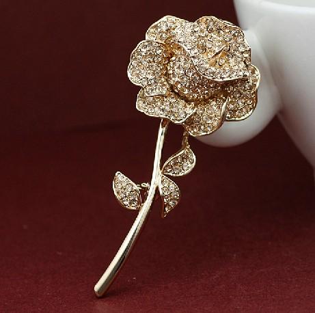 Rhinestone Crystal Diamante Beautiful Rose Flower Jewelry Brooch Pin Accessory women - Yiwu Liangqian Accessories Firm (Mini Order>$8 store)