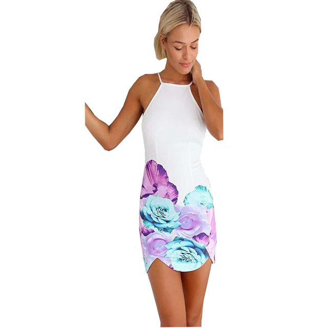 Спинки печать пляжный клуб мини нерегулярные платья 2016 летний новое поступление сексуальный Большой размер женщины ну вечеринку Vestidos