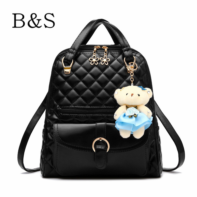 Beautiful Cute Bear Toy Decoration Female Leather Backpack High Quality Women Shoulder Bags Schoolbag For Teenage Girls Youth(China (Mainland))