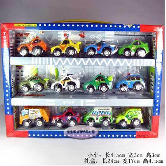 Mini plastic child WARRIOR car toy model fire truck police car 12 car small gift box set(China (Mainland))