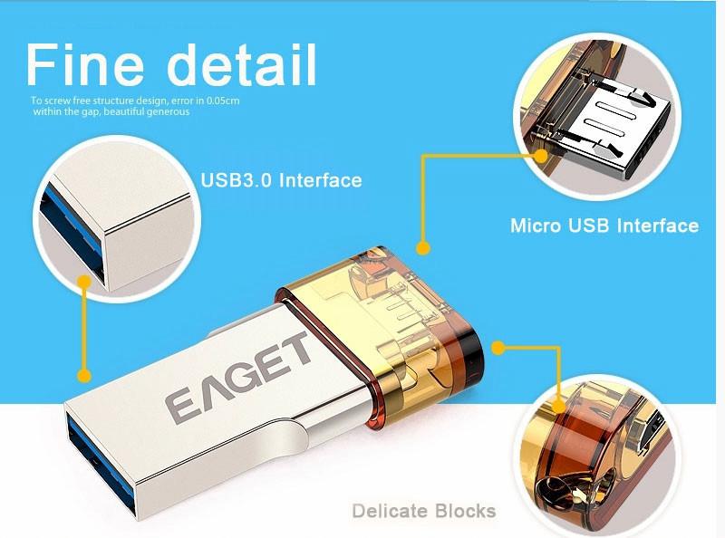 EAGET Official V80 16G Smartphone USB three.zero Flash Drive Pen Drive Micro USB Stick three.zero Android Good Cellphone Pill PC
