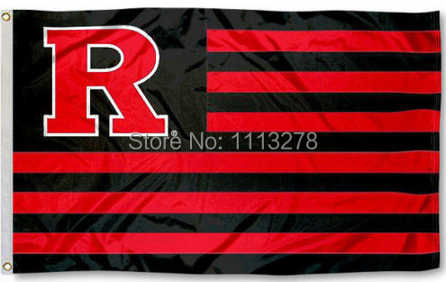 Rutgers Scarlet Knights stripes Flag 3x5 FT NCAA 150X90CM Banner 100D Polyester Custom flag grommets6.free shipping(China (Mainland))