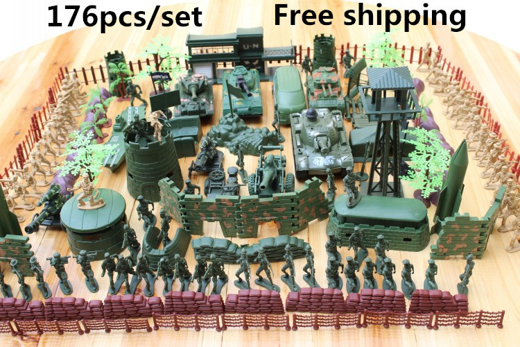 Spot Military bases 176pcs/set Military Plastic Toy Soldiers special forces Army Men Figures & Accessories model Free shipping(China (Mainland))