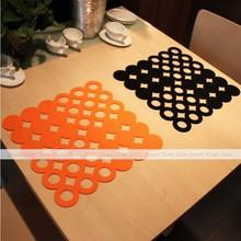 YEVITA 4pcs Orange Felt Laser Cut Circel Placemats Dinner Insulation Table Mats Square 32x32cm(China (Mainland))