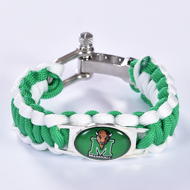 Marshall Thundering Herd Custom Paracord Bracelet NCAA College Football Bracelet Survival Bracelet, Drop Shipping! 6Pcs/lot!(China (Mainland))
