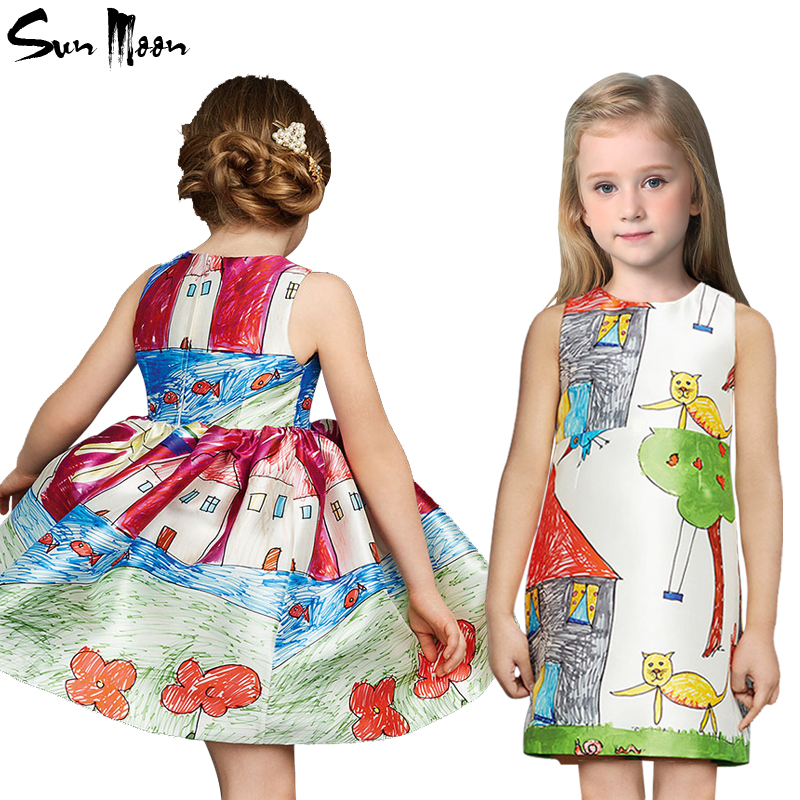 Kids clothing summer dresses for girls fashion girl dress cartoon cotton birthday party sundress new 2016 baby children clothes(China (Mainland))