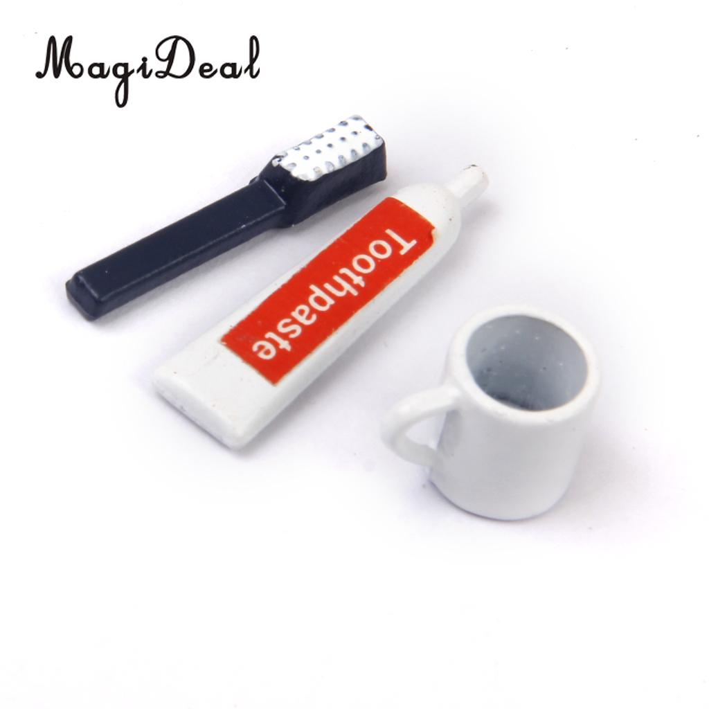 MagiDeal 3Pcs/Set 1/12 Dollhouse Bathroom Miniature Toothbrush Toothpaste Cup Children Pretend Play Toy