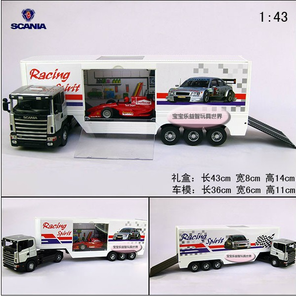 Hot sale 1pc 1:43 36cm delicate SCANIA Giant F1 delivery trucks simulation model alloy car home decoration gift toy(China (Mainland))