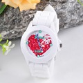 2016 Cheap Price watch Women Silicone Jelly Red Heart petals Quartz Analog Sports Wrist Watch watch