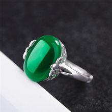 Bohemian คอรันดัมสีแดงเปิดแหวน S925 sliver หยกเพชร Obsidian แหวนพลอยสำหรับหญิง Elegant Anillos (China)