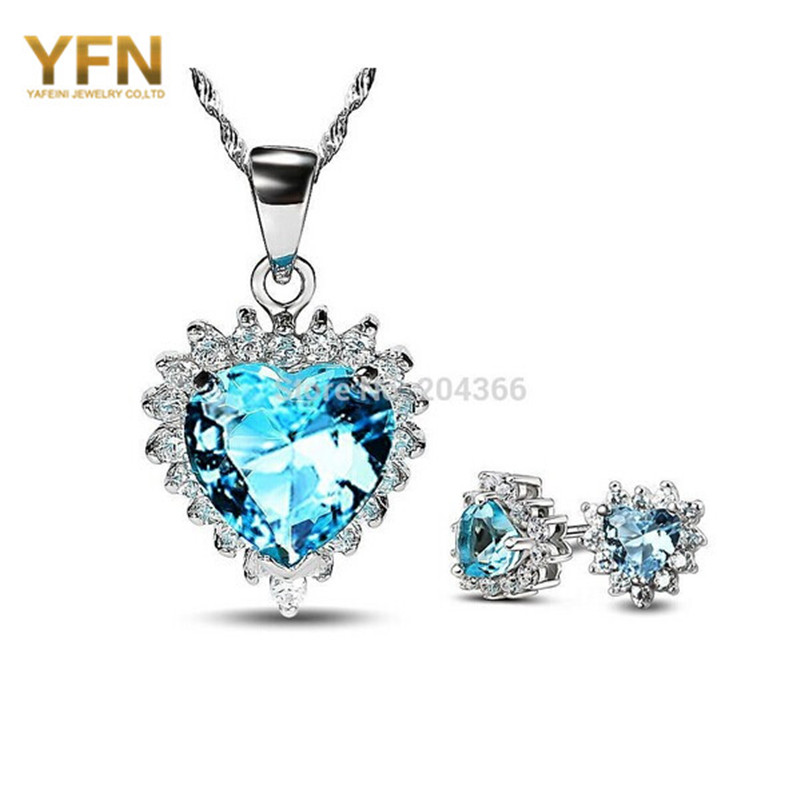 925 Sterling Silver Heart Jewelry Set Wedding Accessories Crystal Necklace & Earrings Bridal Valentine's Gifts Women - Elegant Co.,Ltd store