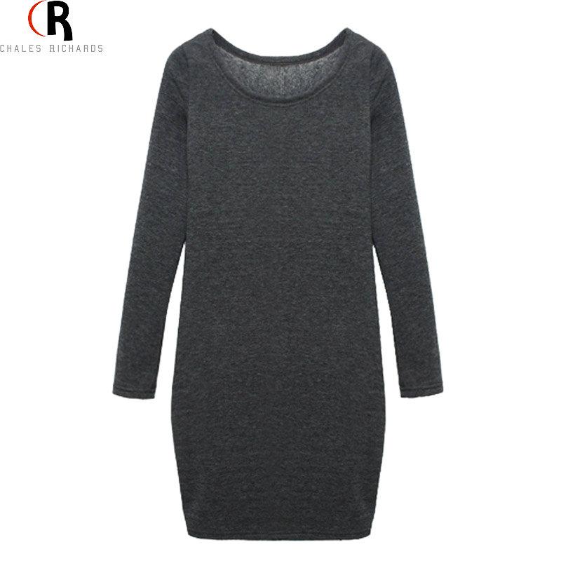 Dark Grey Fleeced Velvet Inside Bodycon Mini Dress Plus Size Vintage Long Sleeve Round Neck 2016 Winter Fall Women Clothing(China (Mainland))