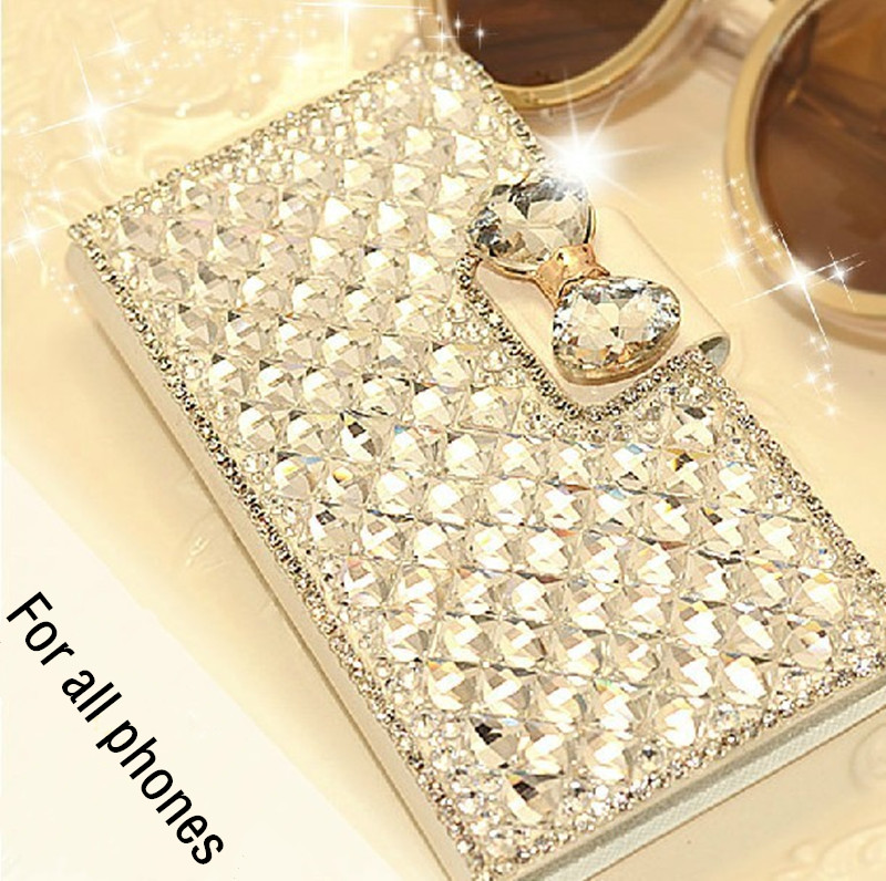 1PCS New Luxury Bling Crystal Rhinestone Diamond Wallet Flip Leather Case Cover For BlackBerry Priv (Venice) Mobile Phone Bag(China (Mainland))