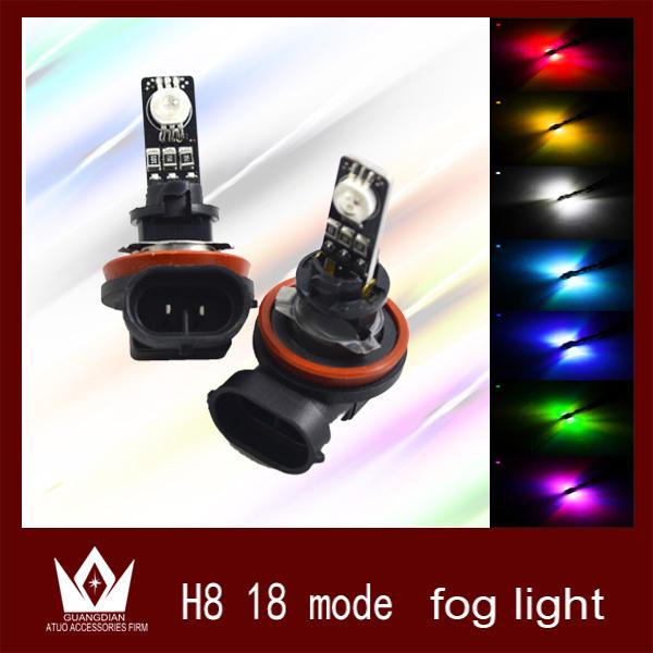 Cheetah 2X RGB 18 Mode H11 H8 Car LED Fog Lamp Automobile Light Bulbs Wedge High power - auto lights shop store