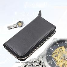 High Quality Genuine Leather Protable Black Watch Storage Box Ziplock Bag Watch Case Leather Purse Travel Jewelry Handbag(China (Mainland))