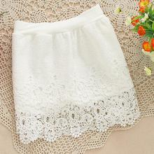 Новый 2014 женщины урожай элегантный полный крючком юбки шнурка тонкий крючок цветок упругом полом высокой талией короткие мини юбки белый черный