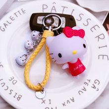 2019 Bonito Pvc Gato Olá Kitty Boneca Chaveiro Chave Corda de Couro Titular Sino de Metal Da Corrente Chave Chaveiro Charme Saco Auto pingente de Presente(China)
