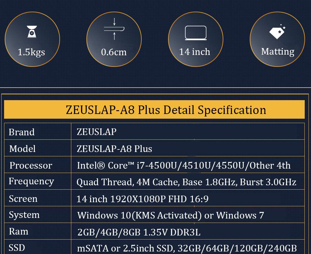 ZEUSLAP Intel Core i7 CPU 14inch 4GB RAM+120GB SSD Windows 7/10 System Wifi Bluetooth 4.0 Ultrathin Laptop Notebook Computer