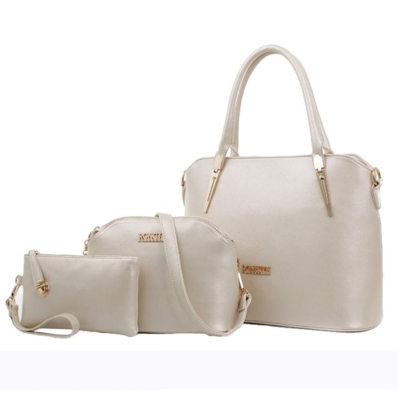 2015 3 Pcs/Set Luxurious Solid Women Leather Handbags Fashion Messenger Bags durable Bag Shoulder