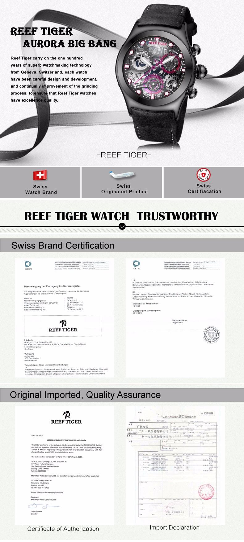 Риф Тигр/RT Хронограф Спортивные Часы для Мужчин Скелет Циферблат с Дата Три Счетчики Дизайн Световой Швейцарские Часы RGA792
