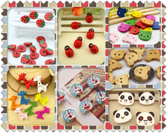 Free shipping DIY 20 pcs/set strawberry panda bamboo shape buttons Wooden Doraemon/children's clothes button/Random Color(China (Mainland))