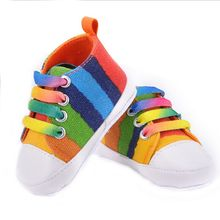 High quality baby shoes girls boys 2016 fashion rainbow canvas shoes soft prewalkers casual baby shoes(China (Mainland))