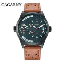 Relojes para hombre marca de lujo Cagarny 6816 correa de cuero cuarzo doble zona horaria analógica fecha hombres deportes militar Oversize reloj de pulsera(China)