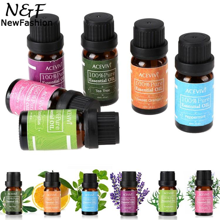 6 pcs Caixa de Presente 10 ml Lavanda Alecrim Puro 100% Puro Pacote de Óleos Essenciais para Aromaterapia, Spa, massagem, Banho 62