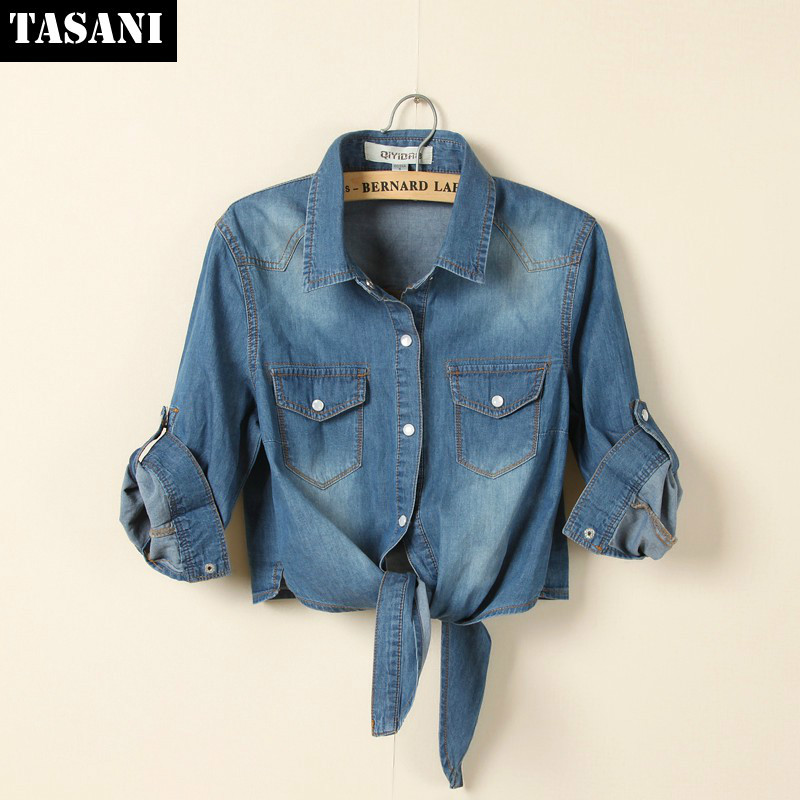 2015 Fashion Women Vintage Denim Jeans Shirts Half Sleeves Plus Size Causal Knot Short Tops x436 - TASANI store