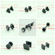 Popular hot style of wholesale 52 pairs The selfdom of the lacquer that bake men earrings classic prevent allergy stud earrings(China (Mainland))