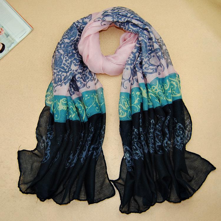 hot sale ladies printe cotton voile shawls porcelain floral scarf plain long muslim head wrap muslim scarf/scarves 5pcs/lot(China (Mainland))
