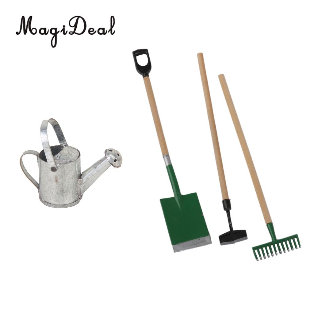 3 Pieces Garden Tools Tin Metal Watering Can for 1/12 Dollhouse Miniature Acc Garden Scenery Model Children Kids Toys