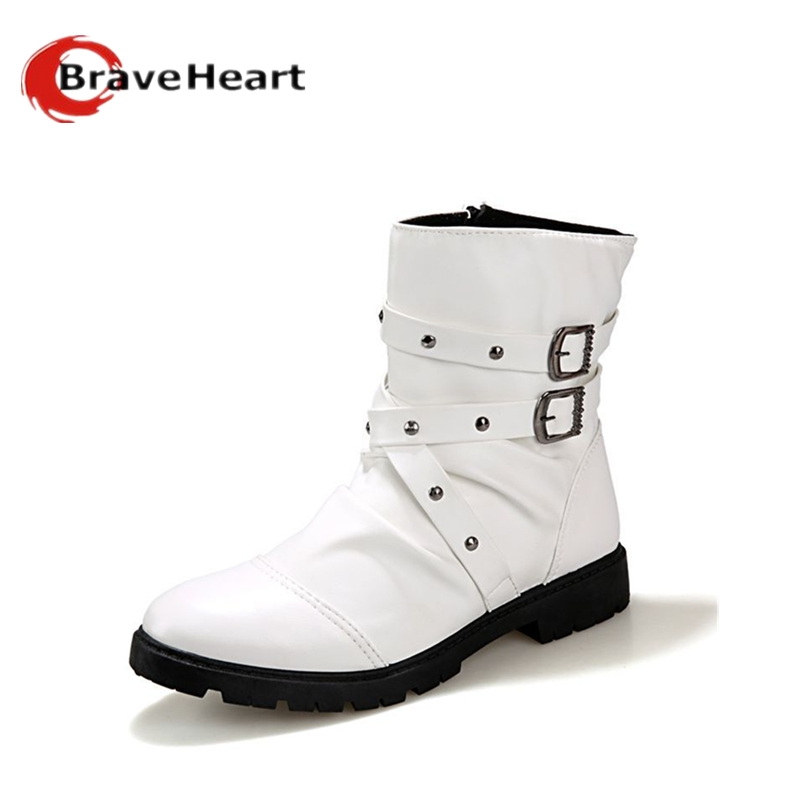 PU Leather Motorcycle Men solid White High-top Boots British Style Buckle Rivets Punk Boots Single Botas Masculina metal button(China (Mainland))