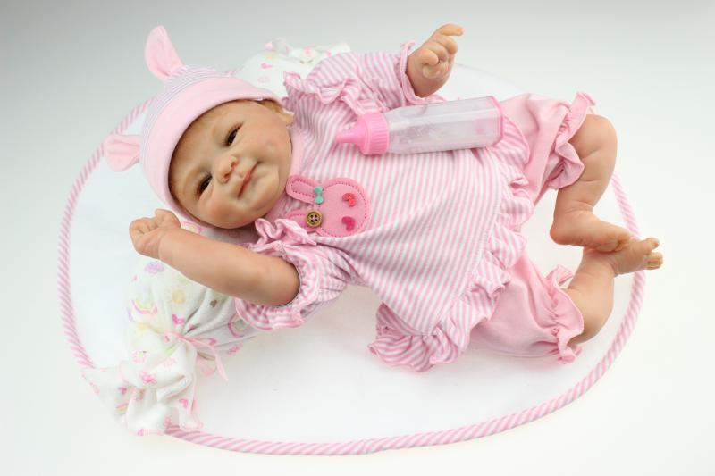 16 inch 40cm Reborn Baby Doll Hard Silicone Lifelike Toy Gift for Children Smile Baby Pink<br><br>Aliexpress