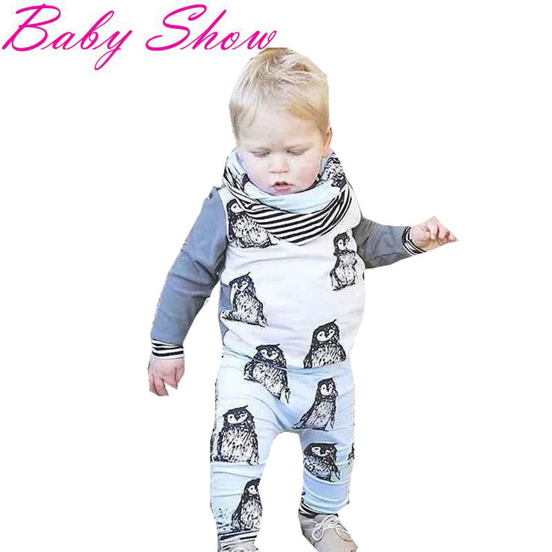 New Baby Boy Clothes Casual Long Sleeve Sweatshirts+Elastic Waist Trousers 2pce Kids Tracksuit Cute Penguin Kids Boy Clothes T30(China (Mainland))