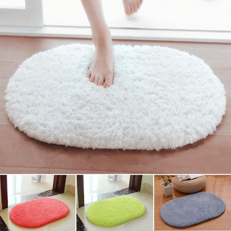 Bedroom Oval Carpet Floor Mats Floor Door Mat 40*60CM Plush Rug Mat Magic Slip-Resistant Pad
