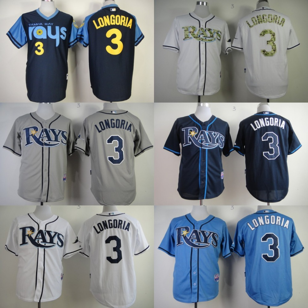 Hot sale Authentic Tampa Bay Rays mens Jersey 3 Evan Longoria throwback Baseball Jersey stitched Embroidery logos size S-4XL<br><br>Aliexpress