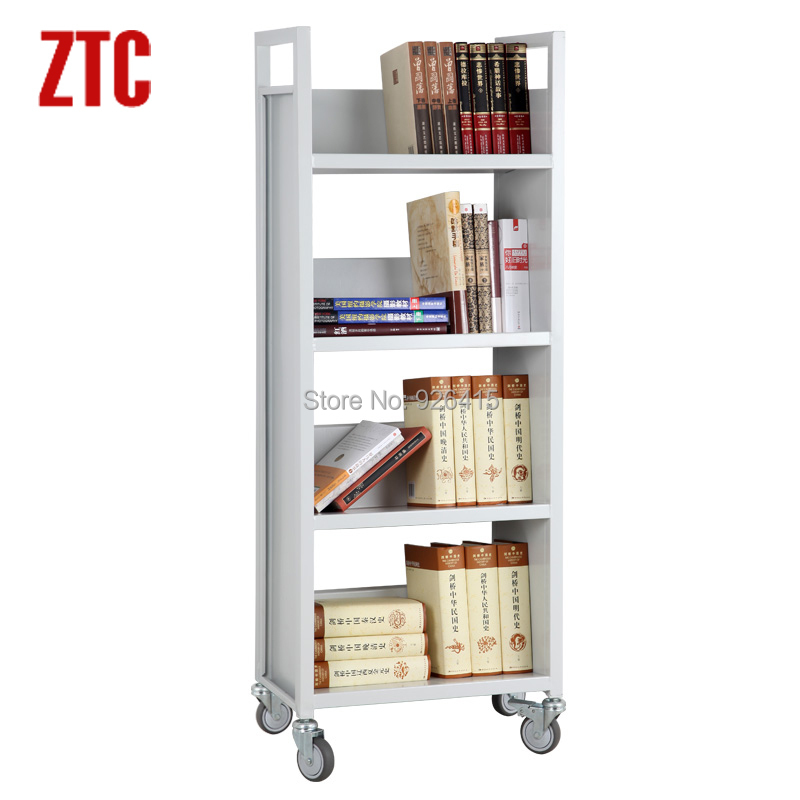 Library bookshelf cart trolley,single-sided with 4 sloped shelves book truck,mobile file handcart hot sale(China (Mainland))