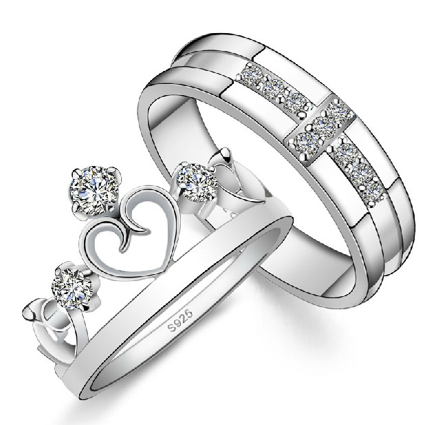 2016 Trendy Simulated Diamond Cross Crown Ring Wedding Rings Men Women Lovers 925 Sterling Silver Jewelry J412 - Life in Color Co.,Ltd store