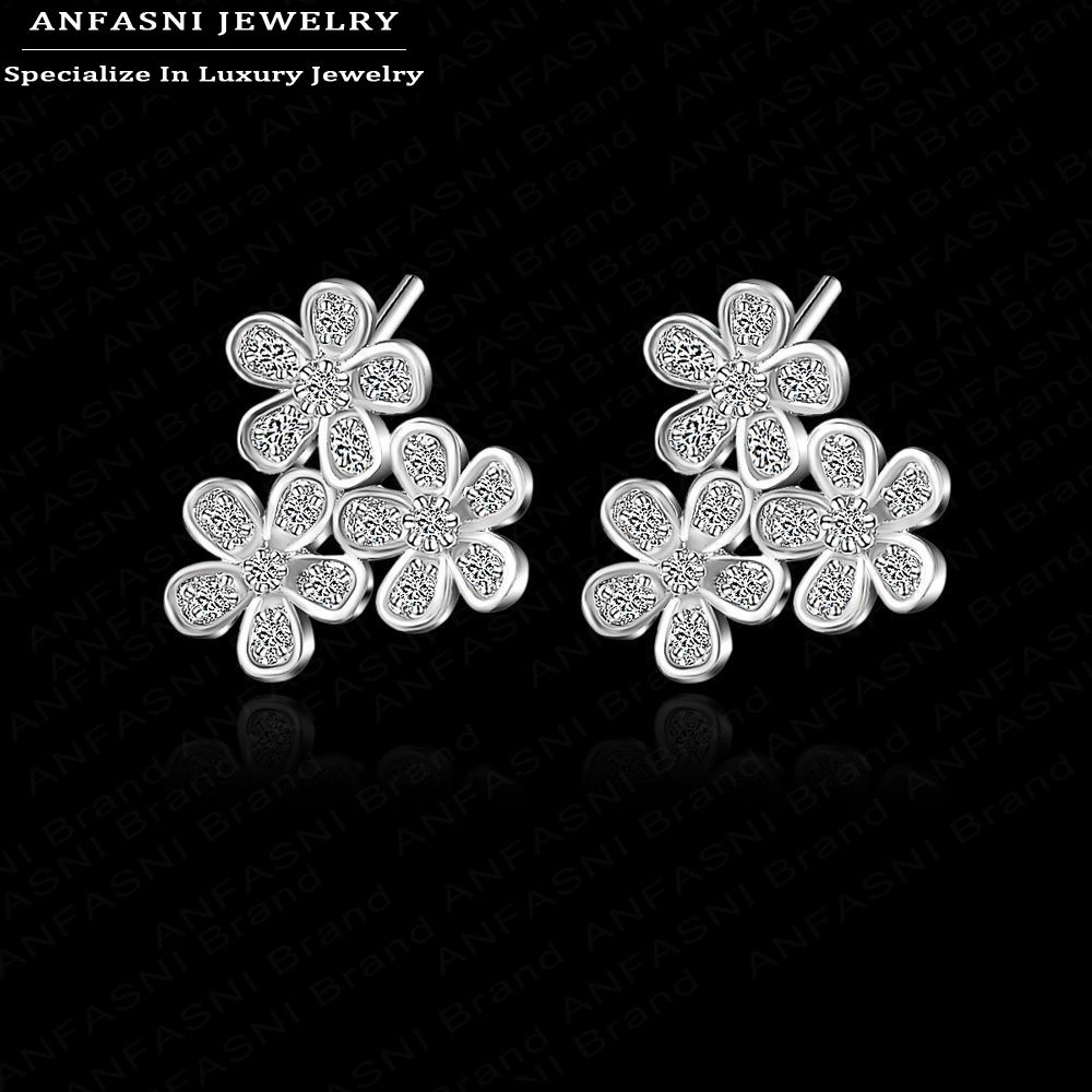ANFASNI Fashion Earing Three Flower Platinum Plated Ear Stud Jewelry High Quality Leaf Ear Stud Earrings For Women CER0075-B(China (Mainland))
