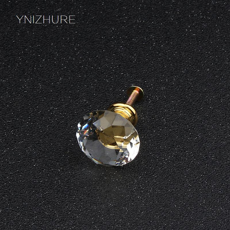 Special offer Discount 30mm 10pcs Transparent K9 Crystal Glass Handle Gold Base Drawer Furniture Kitchen Cabinet Door Dresser