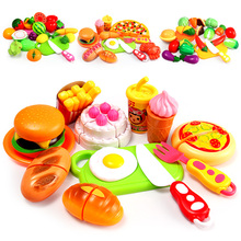 Girl Kitchen Pretend Play Mini Gourmet Vegetable Cake Fruit Cut Set Gift Set Children's Educational Toys(China (Mainland))