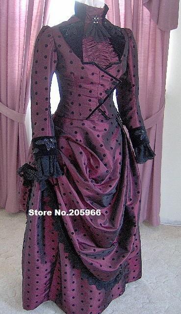 Haute couture 1800s burgundy taffeta victorian dress 1887 for Women s haute couture clothing