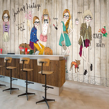 Free Shipping Solid wood white brick fashion girl wallpaper barber shop tea shop room large mural