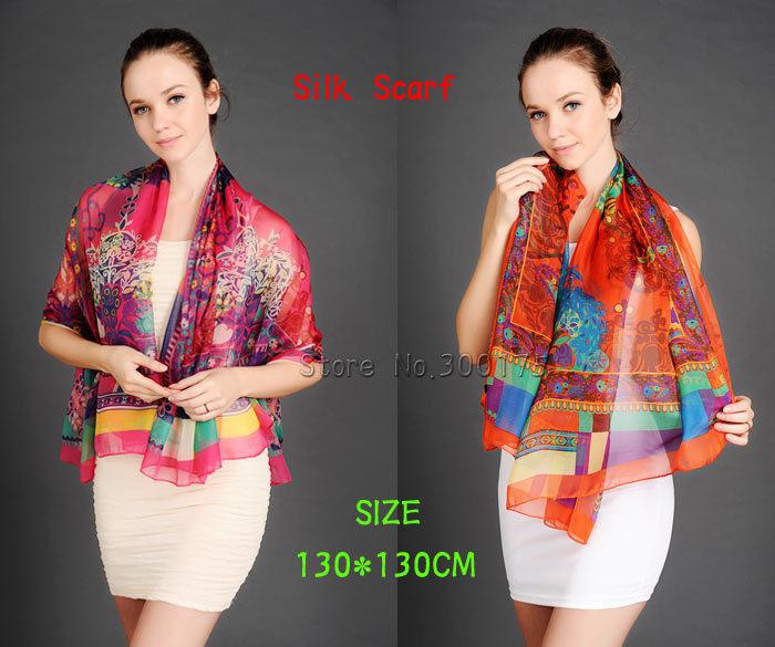 HOT NEW 2014 Silk Viscose Fashion Flora Square Thin Scarf 130*130CM F08 High Quality Wrap Spring Summer Muffler 5 Colors Choice(China (Mainland))