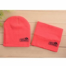 New Autumn Spring Cap + Scarf Children Hedging Cap Scarf Suit Leather Standard Candy-Colored Cnit Hats Newsboy Caps Baby Hat(China (Mainland))