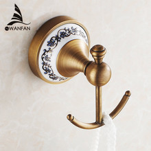 Hot selling-Bathroom Accessories European Antique Bronze ceramic Robe Hook ,Clothes Hook,Coat Hook,Bathroom Products HJ-1801F(China (Mainland))